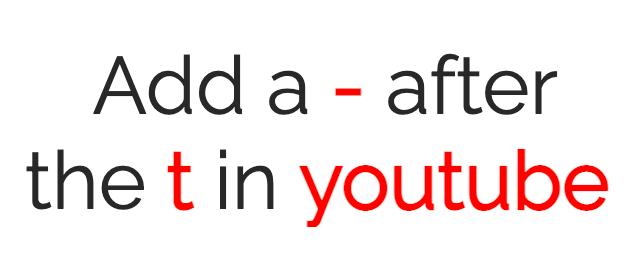 Zet een koppelteken in de Youtubelink